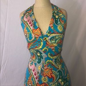 Paisley Halter V-Neck Silk Dress